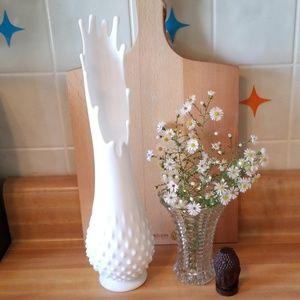 Fenton Milk Glass Swung Vase.